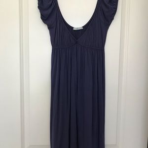 Purple Scooped Neck Casual Dress